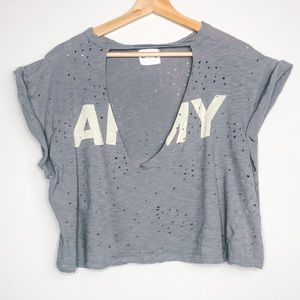 Better Be Army Military Distressed Crop Top